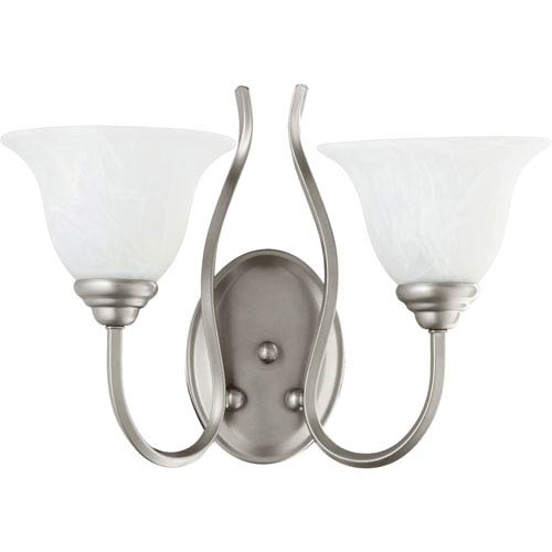 Quorum International Spencer Classic Nickel Two Light Wall Mounted Fixture with Faux Alabaster Glass