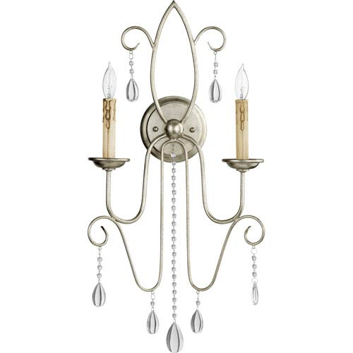 Quorum International Cilia Aged Silver Leaf Two-Light Wall Sconce