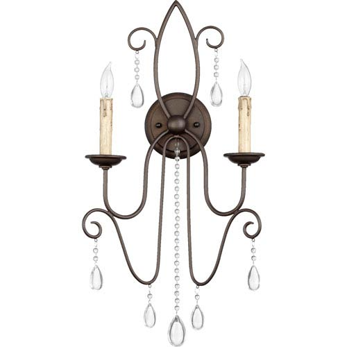 Quorum International Cilia Oiled Bronze 26-Inch Two Light Wall Mounted Fixture