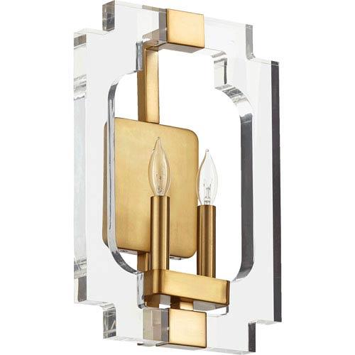 Quorum International Broadway Aged Brass Two-Light Wall Sconce
