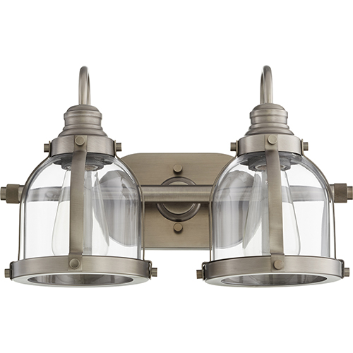 Quorum International Antique Silver Two-Light 16-Inch Bath Vanity