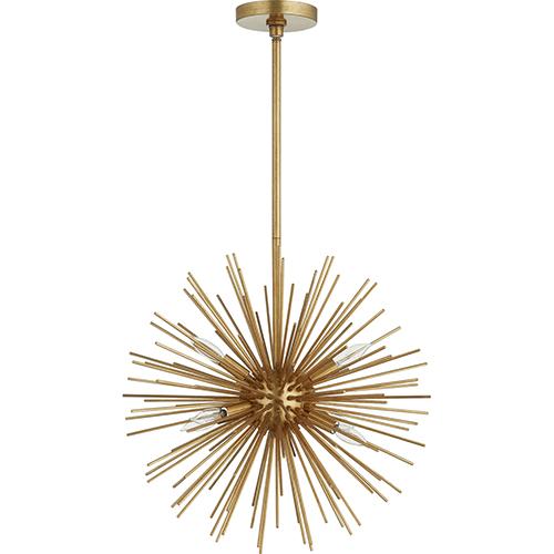 Quorum International ELECTRA Gold Leaf Six-Light 23-Inch Pendant