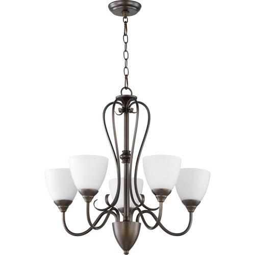 Quorum International Powell Oiled Bronze with Satin Opal Glass Five-Light Chandelier