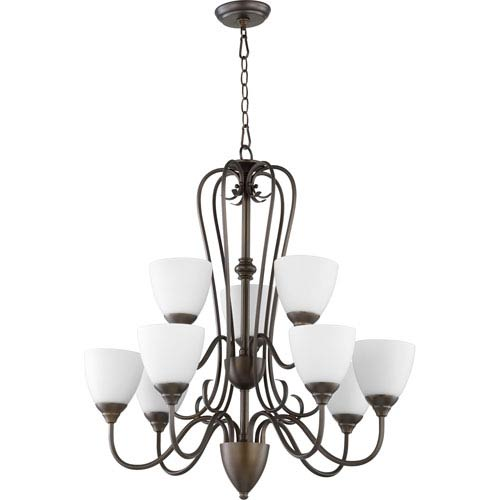 Quorum International Powell Oiled Bronze with Satin Opal Glass Nine-Light Chandelier