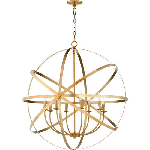 Quorum International Celeste Aged Brass Eight-Light 33-Inch Pendant