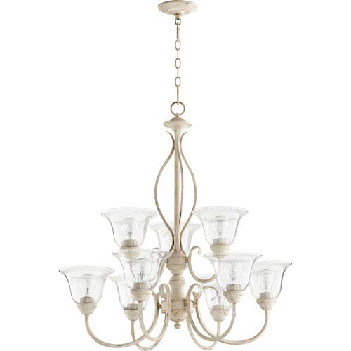 Spencer Persian White with Clear Seeded Glass Nine-Light Chandelier