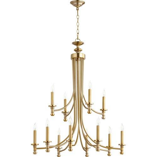 Rossington Aged Brass Twelve-Light 32-Inch Chandelier