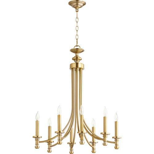 Rossington Aged Brass Eight-Light 25-Inch Chandelier