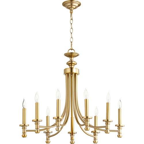 Rossington Aged Brass Nine-Light 27-Inch Chandelier