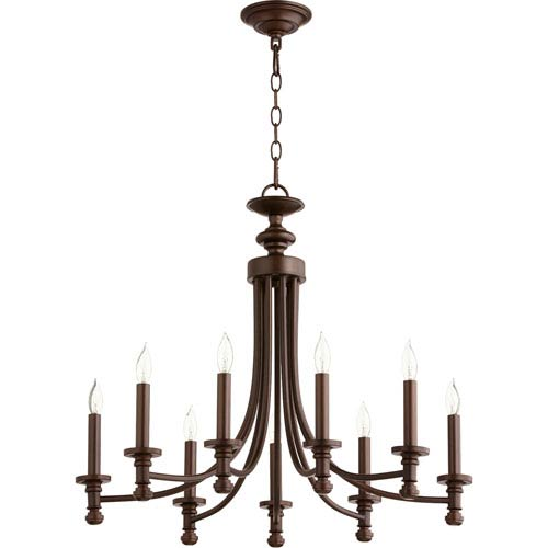 Rossington Oiled Bronze Nine-Light 27-Inch Chandelier