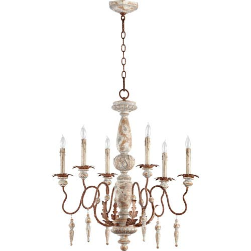 La Maison Manchester Grey and Rust Accents 30-Inch Six Light Chandelier
