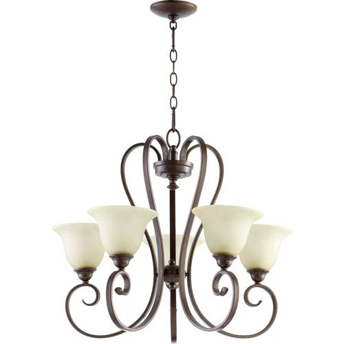 Quorum International Celesta Oiled Bronze Five Light Chandelier with Amber Scavo Glass