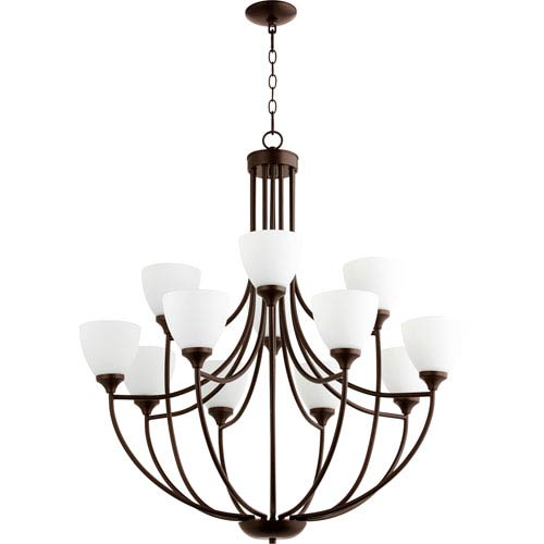 Enclave Oiled Bronze Twelve-Light 35-Inch Chandelier