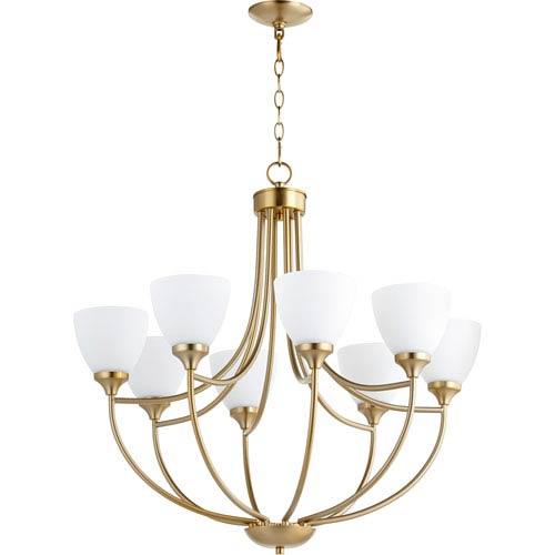 Quorum International Enclave Aged Brass Eight-Light 30-Inch Chandelier