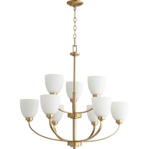 Quorum International Reyes Aged Brass Nine-Light 31-Inch Chandelier