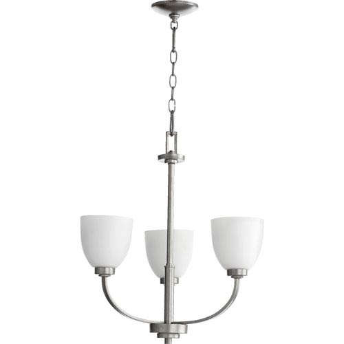 Quorum International Reyes Classic Nickel Three Light Chandelier with Satin Opal Glass