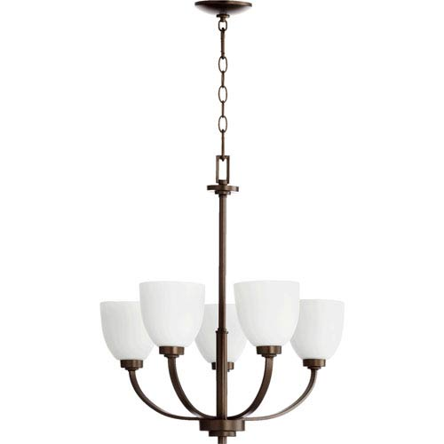 Quorum International Reyes Oiled Bronze 24.25-Inch Five Light Chandelier