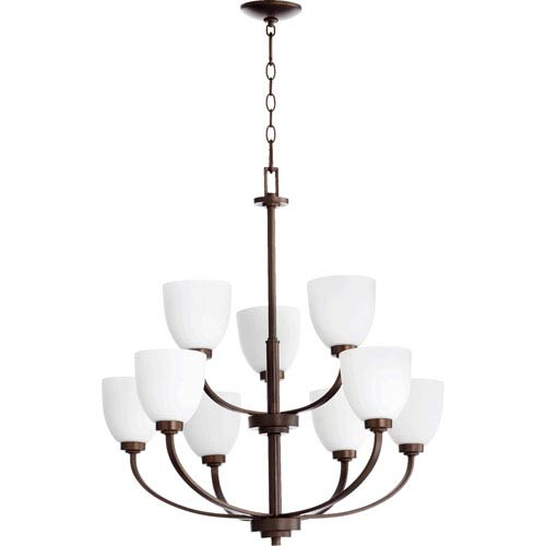 Quorum International Reyes Oiled Bronze 30.5-Inch Nine Light Chandelier with Satin Opal Glass