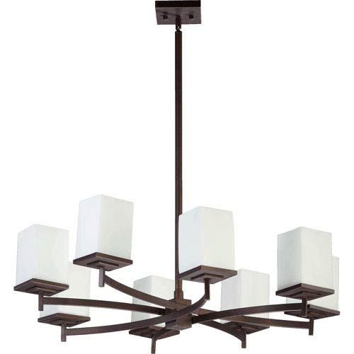Quorum International Delta Oiled Bronze Eight-Light Chandelier with Satin Opal Glass