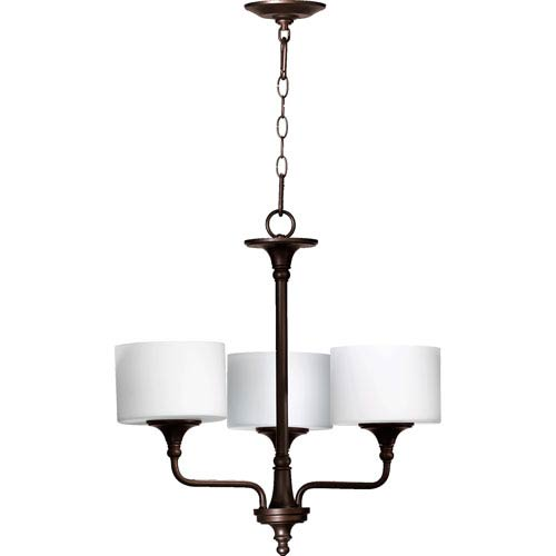 Rockwood Oiled Bronze Three-Light Chandelier with Satin Opal Glass