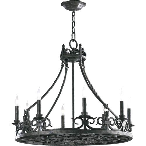 Lorenco Eight-Light Spanish Silver Chandelier