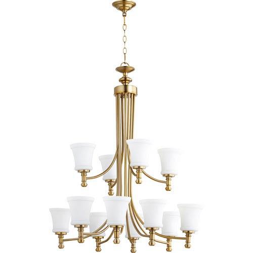 Rossington Aged Brass Twelve-Light 35-Inch Chandelier