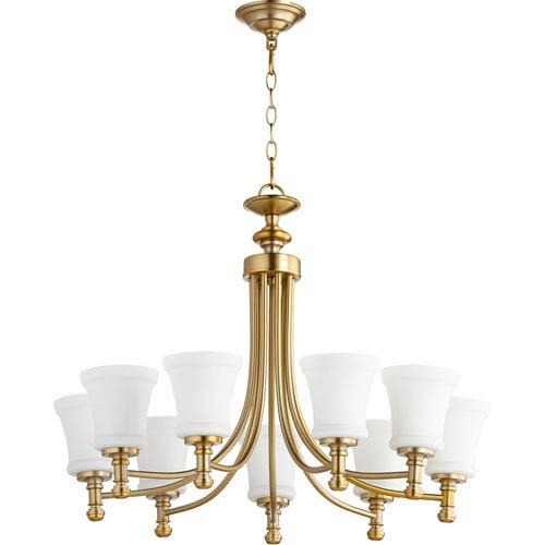 Quorum International Rossington Aged Brass Nine-Light 31-Inch Chandelier