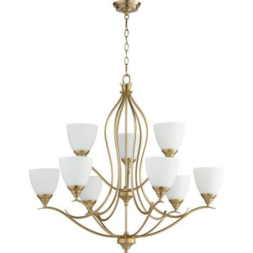 Flora Aged Brass Nine-Light 29-Inch Chandelier