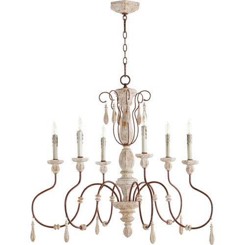 La Maison Manchester Grey with Rust Accents Six-Light 36-Inch Chandelier
