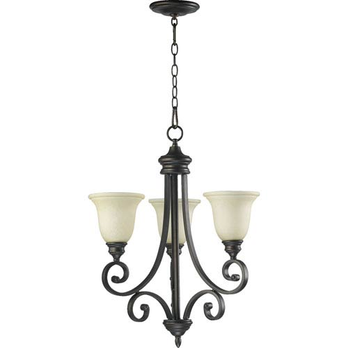 Quorum International Bryant Three-Light Oiled Bronze with Antique Gold Chandelier
