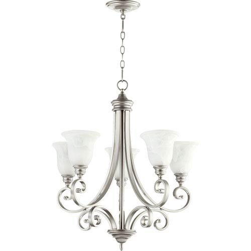 Quorum International Bryant Classic Nickel 30-Inch Five Light Chandelier with Faux Alabaster Glass