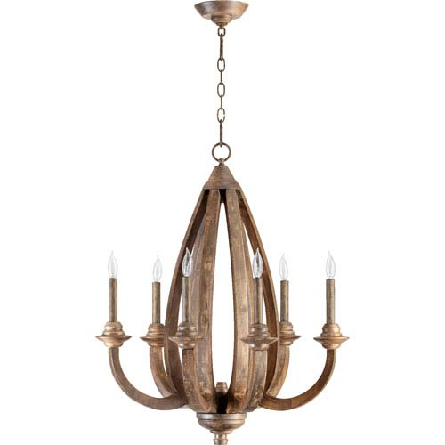 Quorum International Telluride Early American 33-Inch Six Light Chandelier