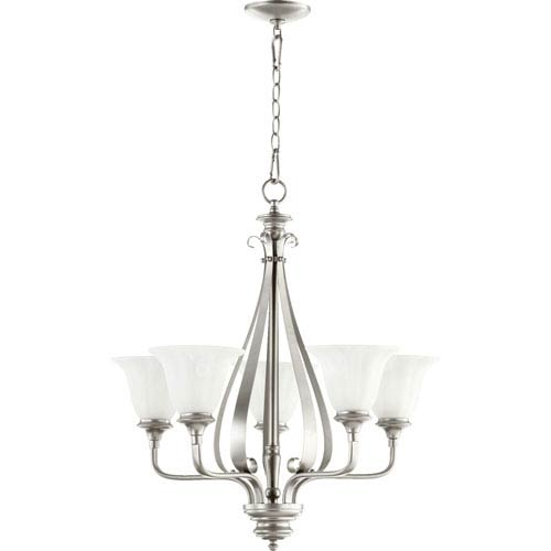 Quorum International Randolph Classic Nickel Five Light Chandelier with Faux Alabaster Glass