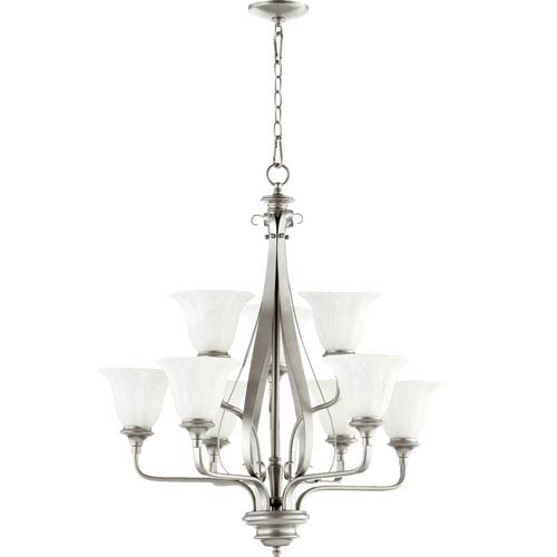 Quorum International Randolph Classic Nickel Nine Light Chandelier with Faux Alabaster Glass