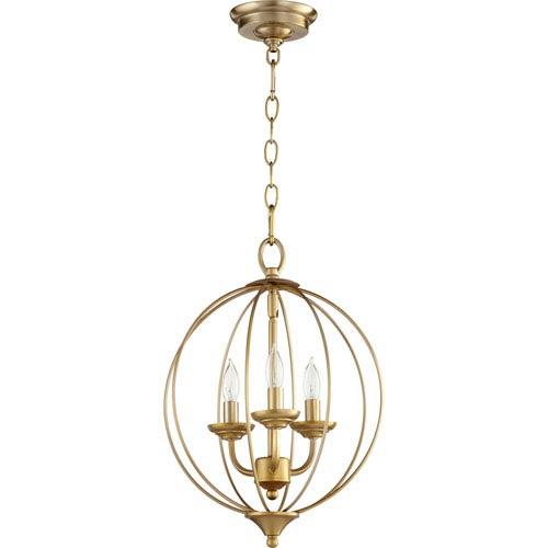 Quorum International Flora Aged Brass Three-Light 13-Inch Pendant