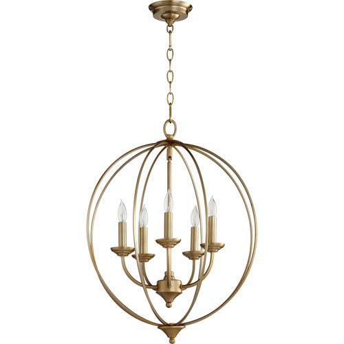 Flora Aged Brass Five-Light 19-Inch Pendant
