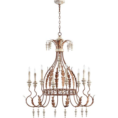 Quorum International La Maison Manchester Grey and Rust Accents 43.75-Inch Eight Light Chandelier
