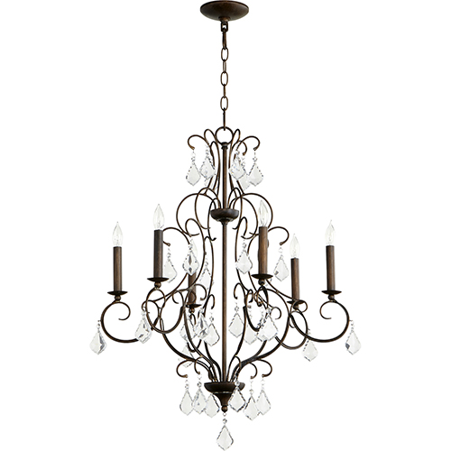 Ariel Vintage Copper Six-Light 24-Inch Chandelier