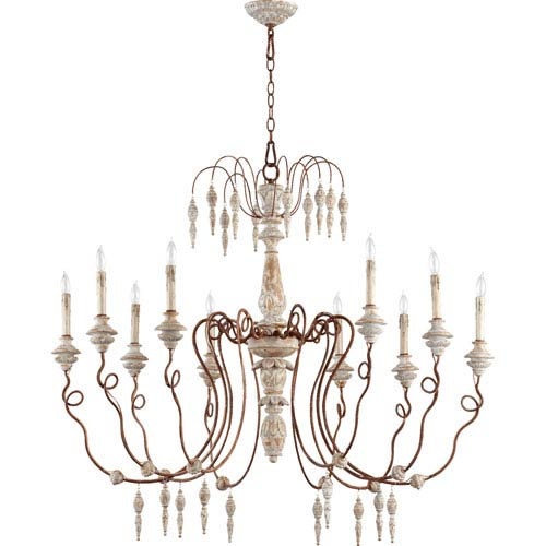 La Maison Manchester Grey and Rust Accents 38-Inch Ten Light Chandelier