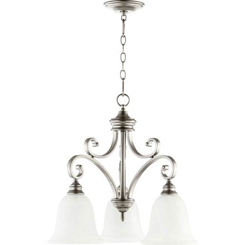Quorum International Bryant Classic Nickel 21.75-Inch Three Light Chandelier