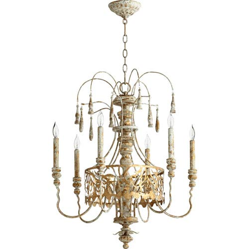 Quorum International Leduc Florentine Gold 23-Inch Six-Light Chandelier