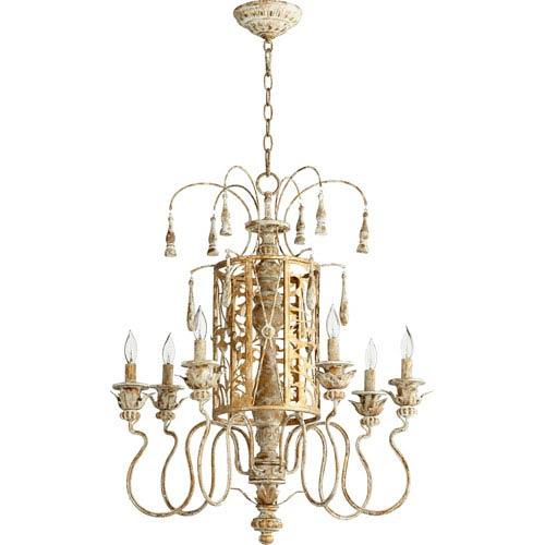 Quorum International Leduc Florentine Gold 25-Inch Six-Light Chandelier