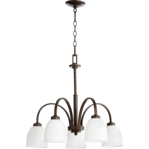 Quorum International Reyes Oiled Bronze Five Light Chandelier with Satin Opal Glass