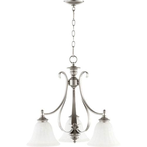Quorum International Randolph Classic Nickel Three Light Chandelier with Faux Alabaster Glass