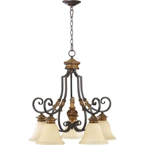 Capella Five-Light Toasted Sienna with Golden Fawn Chandelier