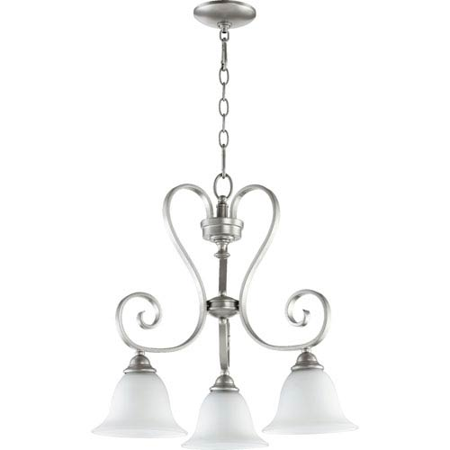 Quorum International Celesta Classic Nickel Three Light Chandelier with Satin Opal Glass