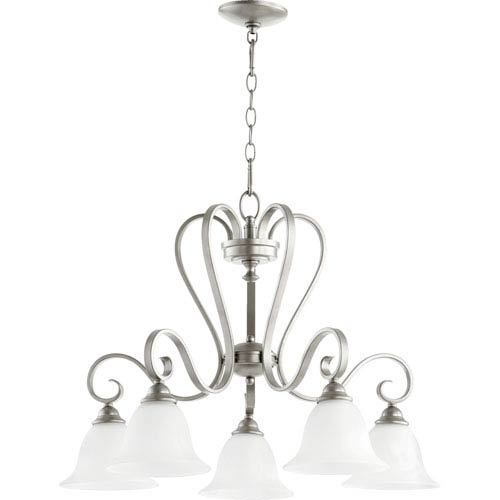 Celesta Classic Nickel Five Light Chandelier with Satin Opal Glass