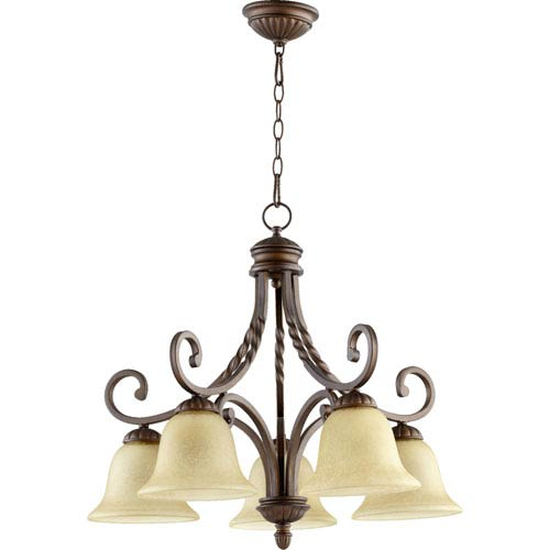Quorum International Tribeca Ii Oiled Bronze Five Light Chandelier with Amber Scavo Glass