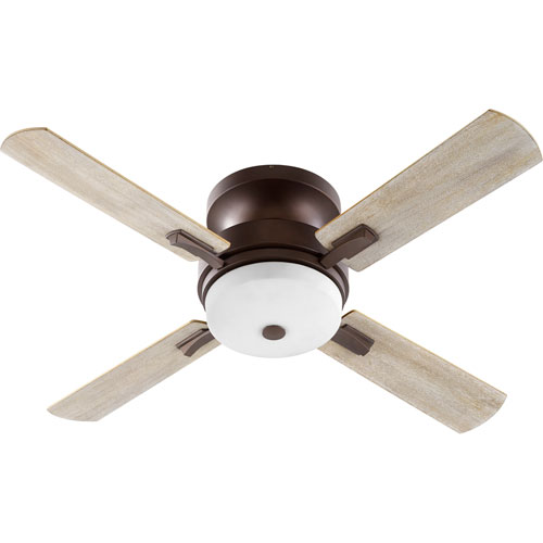 Davenport Oiled Bronze with Satin Opal Three-Light 52-Inch Ceiling Fan