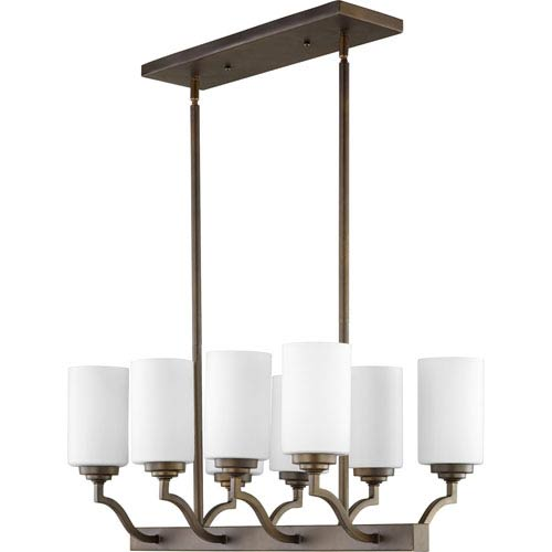 Quorum International Atwood Oiled Bronze with Satin Opal Glass Eight-Light Island Pendant